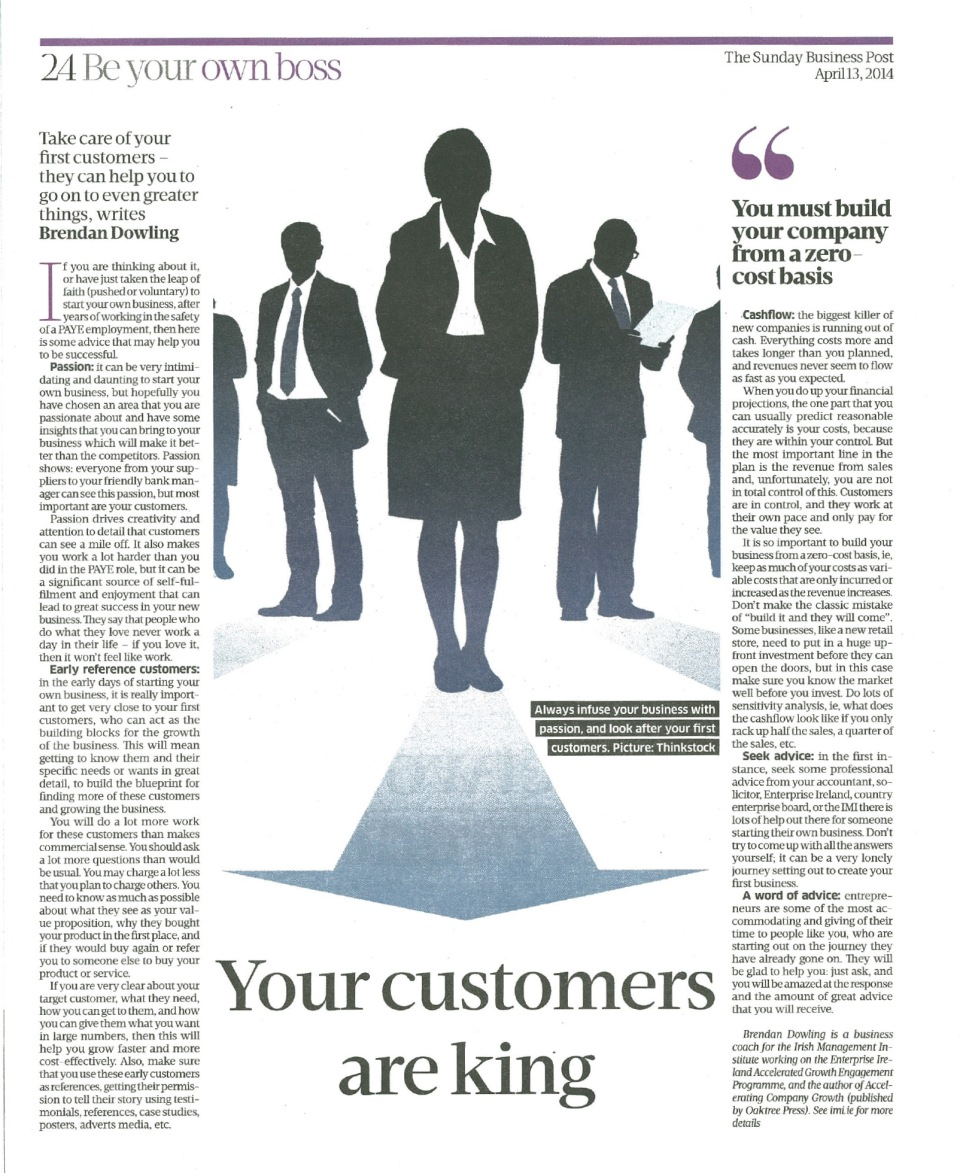 "Sunday Business Post, 13th April 2014: ""Be Your Own Boss"""