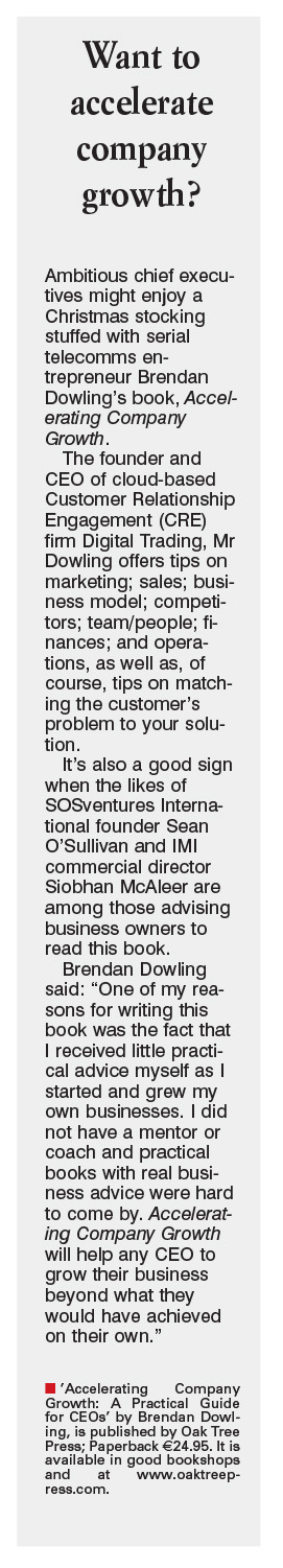"Irish Examiner, 22nd November 2014: ""Want to Accelerate Company Growth"""
